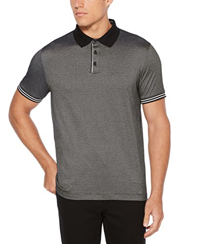 Perry Ellis Essential End Polo para Hombre, Negro, Large