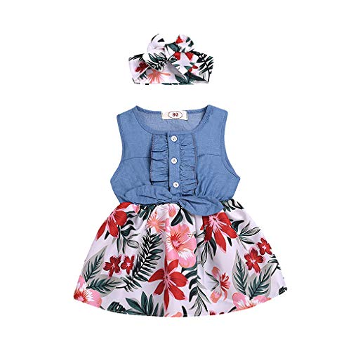 Alwayswin småbarn baby flicka ärmlös jeansklänning fritidsklänning med blomblad tryck rosett kjol + hårband kläder sommar A-linje klänning strand kort daglig klänning, blå, 80 cm
