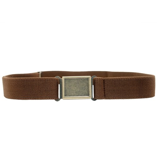 Dapper Snappers Made in USA Boys Big Kids Elastic Stretch Belt with Easy - Magnetic Buckle, Chocolate Brown