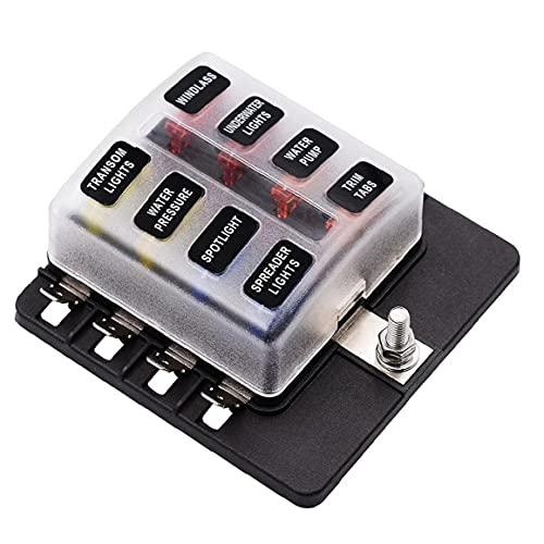 EElabper Caja De Fusibles 1 En 8 De Portafusible Barco Indicador Led Bloque De Fusibles Tipo Tornillo Terminal Pc Accesorios para Coche Barco Automotive