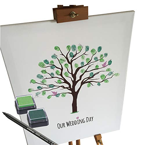 Tela per matrimoni–motivo albero–come libro degli ospiti per impronte digitali (40x 50cm, include penna + cuscinetti per timbri)