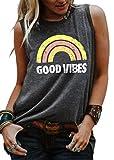 Good Vibes Rainbow Tank Top Women's Vintage Sleeveless Casual Graphic Tee T-Shirt (L, Dark Grey)