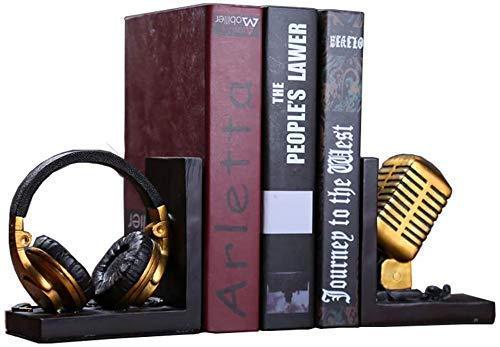 Micrófono Estatua Decoración Péndulo Escritorio Sujetalibros Regalo Revista Titular De Archivo Resina Auriculares Artesanía Escultura Adorno