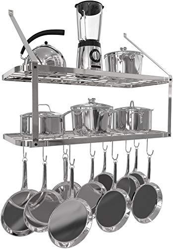 VDOMUS Shelf Pot Rack Wall Mounted Pan Hanging Racks 2 Tire (Silver)