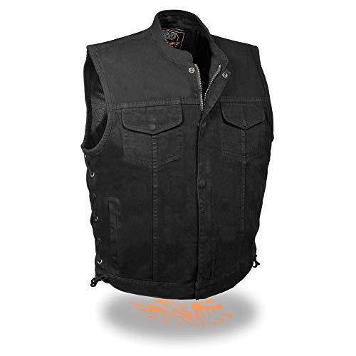 Milwaukee Performance MDM3002 Men's Black Side Lace Denim Club Vest with Hidden Zipper - X-Large