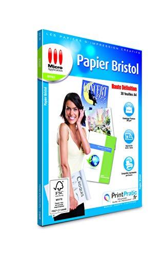 Papier Bristol A4 - 30 Feuilles Papier Cartonné, Format A4, 200 g/m², Dessin, Imprimable Recto/Verso, Impressions jusqu'à 4 800 dpi, Compatible Imprimantes Jet d'Encre ou Laser - Micro Application
