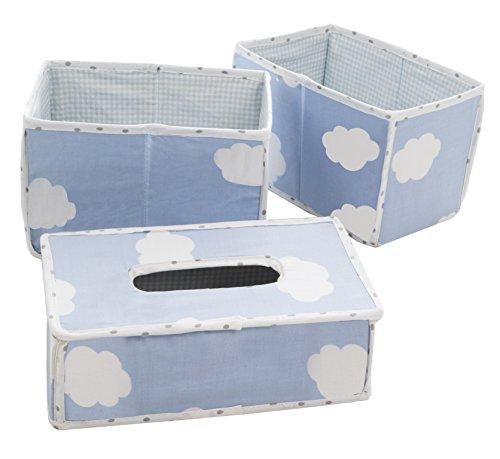 roba Pflege Organiser Set 'Kleine Wolke blau', 3tlg, Aufbewahrungsbox Set, 2 Boxen für Windeln & Wickelzubehör, 1 Dekobox für Feuchttücher, Babyzimmer Deko