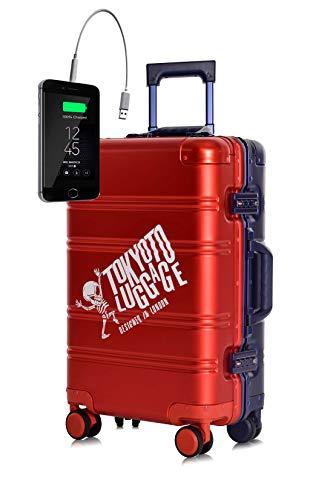 TOKYOTO - Maleta de Cabina 100% Aluminio Puro Metálica Juvenil Ultraligera Equipaje de Mano con Cargador USB, 80000mAh, 55x40x20 cm | Trolley de Viaje Ryanair, Easyjet | Rígida Red Blue Logo