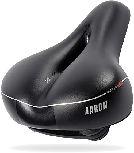 AARON Memory Fahrradsattel mit anpassungsfähiger Gel Einlage - ergonomischer Fahrradsitz für Damen und Herren - Sattel für E-Bike, Trekkingrad und Mountainbike in schwarz