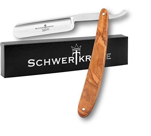 Schwertkrone Premium Rasiermesser 5/8 Carbonstahl/Nicht Rostfrei Solingen Olivenholz Holzgriff