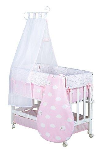 roba Berceau 'Babysitter 3 en 1' de la collection 'Petite Nuage rose', utilisable comme cododo, petit lit et banc, bois laqué en blanc; inclus en livraison sont un matelas, le tour de lit
