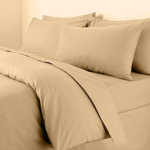 Sapphire Collection Plain Duvet Cover With Pillow Cases Non Iron Percale Quilt Cover Bedding Bedroom Set (Double, Mocha)