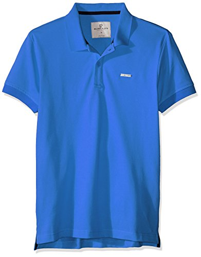 Silver Plate Polo Polos para Hombre, Color Rey Azul, Mediana