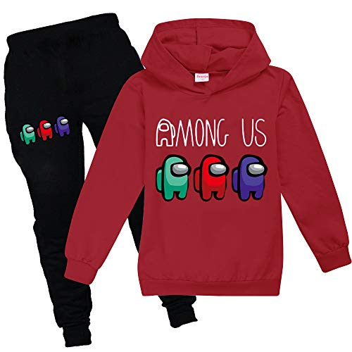 Baonmy Among Us Bambini Ragazze Ragazzi Sport Felpe Con Cappuccio + Pantaloni 2 Pz/Set Tute Moda Abbigliamento Sportivo Rosso 9-10 Anni