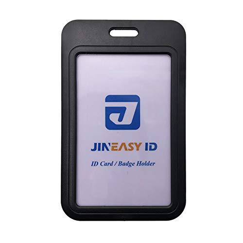 2 Pack Hard Plastic Vertical Slide Open ID Badge Holder by Jineasy ID