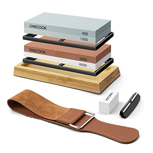 ONECOOK Knife Sharpening Stone Set 400/1000 3000/8000, Professional 4 Side Grit Whetstone Sharpening Kit with Non-slip Bamboo Base, Flattening Stone, Angle Guide and Leather Strop