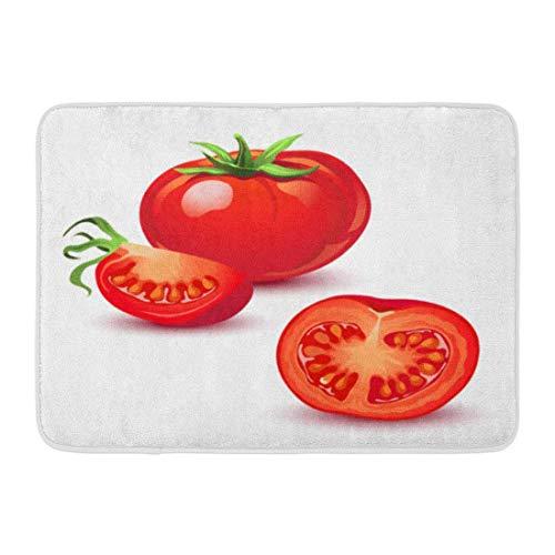 Tappeto da bagno tagliato verde pomodoro rosso maturo bianco fetta ketchup decorazione del bagno tappeto
