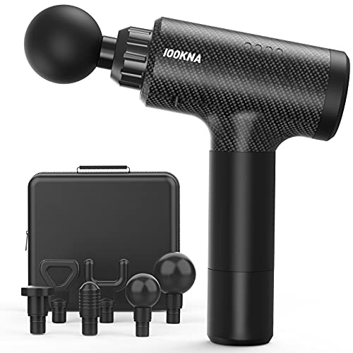 Muscle Massage Gun, IOOKNA Portable Deep Tissue Massager for Athletes with LCD Display Screen, Quiet Brushless Motor Body Massagers for Muscles with 20 Variable Speed and 6 Massage Heads
