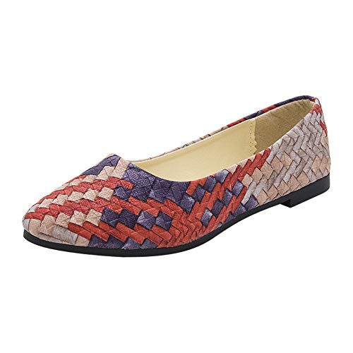 Damen Geschlossene Ballerinas mit Webdesign, Frauen Flache Schuhe Elegante Mokassins Weich Bequeme Loafers Casual Slip-Ons Schöner Damenschuhe Celucke (Rot, 37 EU)