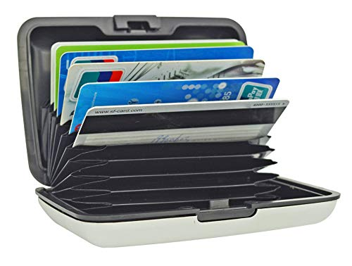 UTRAX 12 Slots Metal Cards Wallet Multi Pockets Aluminum Purse Credit Card Organizing Hard Case Holder for RFID Scan Protection (SILVER)