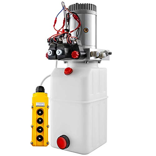 Mophorn 6 Quart Hydualic Power Unit Double Acting Hydraulic Pump 12V DC Dump Trailer Crane Unloading Hydraulic Power Unit Auto Repair Car Lift Plastic