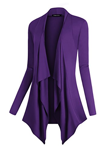 Urban CoCo Women's Drape Front Open Cardigan Long Sleeve Irregular Hem (S, Purple)