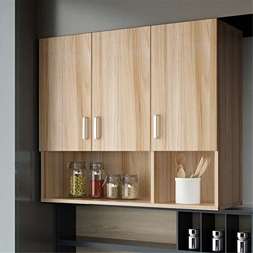 YzDnF Medizin-Schrank Multipurpose-Speicher-Organisator Küchenschrank Wandhängeschrank for Badezimmer oder Wohnzimmer Küche Badezimmer Wandschrank (Color : Wood, Size : 90x30x80cm)