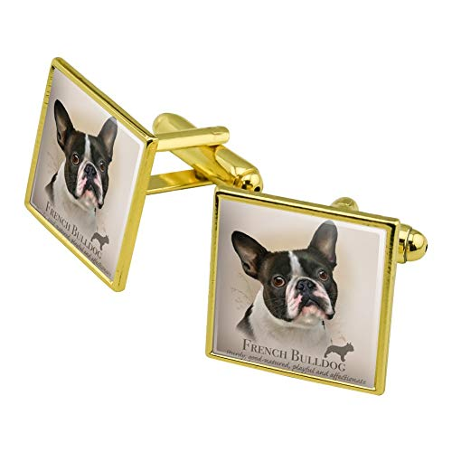 GRAPHICS & MORE French Bulldog Dog Breed Square Cufflink Set Gold Color