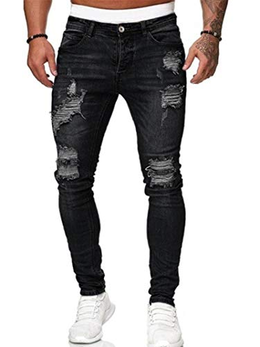 Vaqueros para Jeans Pantalones Pantalones De Chándal para Hombre, Pantalones Vaqueros Sexis con Agujeros, Pantalones Casuales para Hombre, Rasgados, Ajustados, Viejos, Vintage, Pan