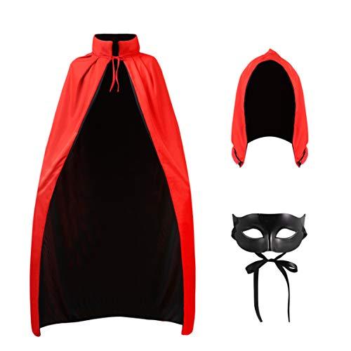 Wakauto 1 Set de capa de Halloween con máscara única de fiesta con capucha unisex para adultos y hombres