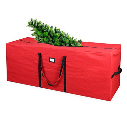 Primode Holiday Tree Storage Bag | Fits Up to 9 Ft. Tall Disassembled Tree | 25' Height X 20' Wide X 65' Long | Heavy Duty Storage Container, Constructed of Durable 600D Oxford Material (Red)