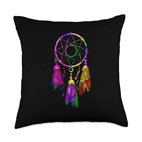 Dream Catcher Native American Indian Spirituality Colorful Dreamcatcher Feathers Native American Indian Tribal Throw Pillow, 18x18, Multicolor