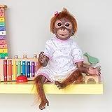 Pinky Reborn 21 Pulgadas 52cm Hecho a Mano Renacer Bebé Mono Niña Silicona Suave Vinilo Realista Reborn Doll Mejor Regalo para niños Navidad