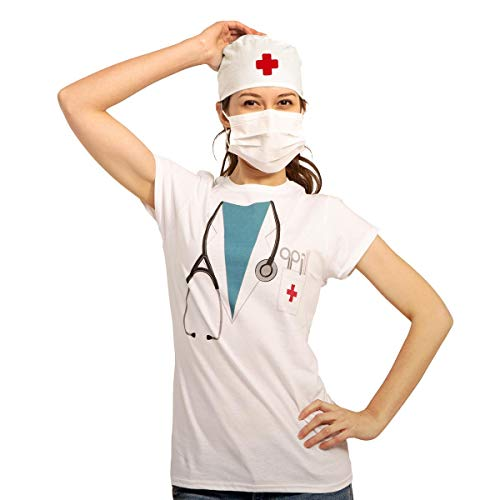 Doktor Arzt Chirurgen Kostüm Frauen Mundschutz + OP Haube Damen T-Shirt Slim Fit Large Weiß