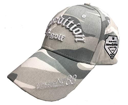【NewEdition GOLFR】ニューエディションゴルフ・カモフラージュ柄 カモ柄 3D刺繍アスリート ワッペン キャップ サンバイザー メッシュ ゴルフ 帽子 フリーサイズ NEG-299 (キャップ・ホワイトカモ)