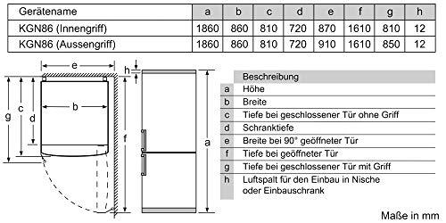 Bosch KGB86AIFP Serie 6 Réfrigérateur congélateur XXL autoportant/A++ / 186 x 86 cm / 373 kWh/an/Inox anti-traces de doigts/réfrigérateur 479 L/congélateur 134 L/NoFrost/VitaFresh plus