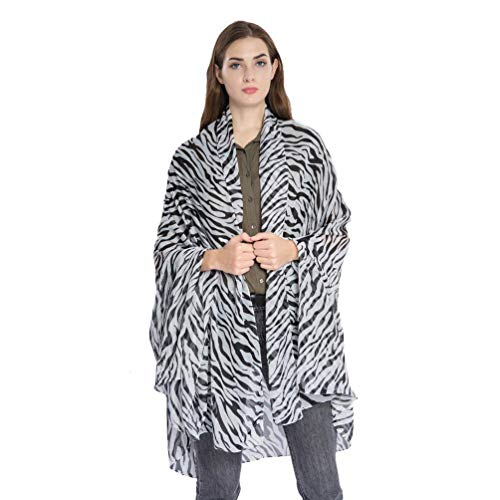 Women Large Leopard Animal Print Lightweight Soft-touch Rectangle Everyday Scarf (Zebra)