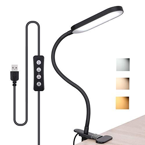 Flexibler LED Leselampe, dimmbare Klemmleuchte mit 3 Farbtemperatur, Helligkeit einstellbar Bettlicht Augenschutz zum Lernen, Lesen und Entspannen