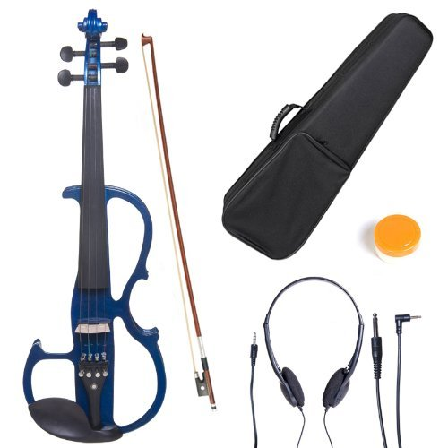 Cecilio CEVN-2BL Style 2 Silent Electric Solid Wood Violin with Ebony Fittings in Metallic Blue, Size 4/4 (Full Size)