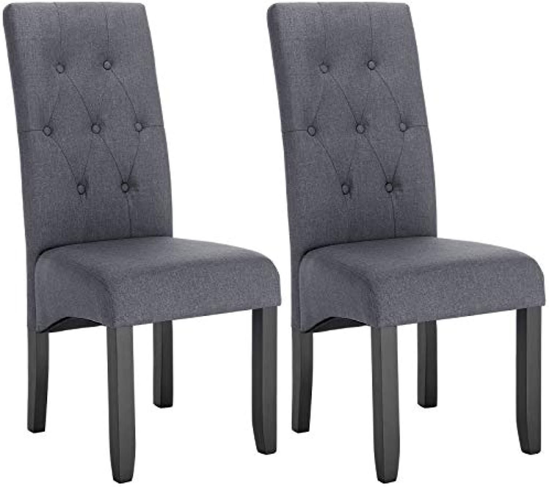 WOLTU Esszimmerstühle BH106dgr-2 2er Set Küchenstuhl Lehnstuhl Polsterstuhl mit hoher Rückenlehne, Beine aus Massivholz, gepolsterte Sitzflche aus Leinen, Dunkelgrau