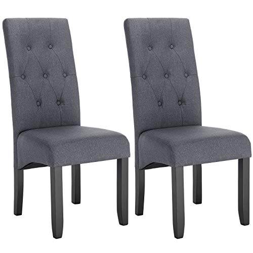 WOLTU Esszimmerstühle BH106dgr-2 2er Set Küchenstuhl Lehnstuhl Polsterstuhl mit hoher Rückenlehne, Beine aus Massivholz, gepolsterte Sitzfläche aus Leinen, Dunkelgrau
