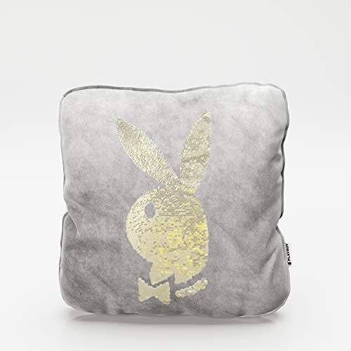 PLAYBOY 687103AZ Throw Inclul - Relleno con Cabeza de Conejo con Purpurina giraje, Antracita, 40 x 40 x 10 cm