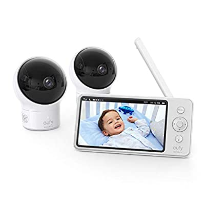 """eufy Security, Video Baby Monitor with Camera and Audio, 2-Cam Kit, 720p HD, Ideal for New Moms, 5"""" Display, 110° Wide-Angle Lens, Night Vision"""