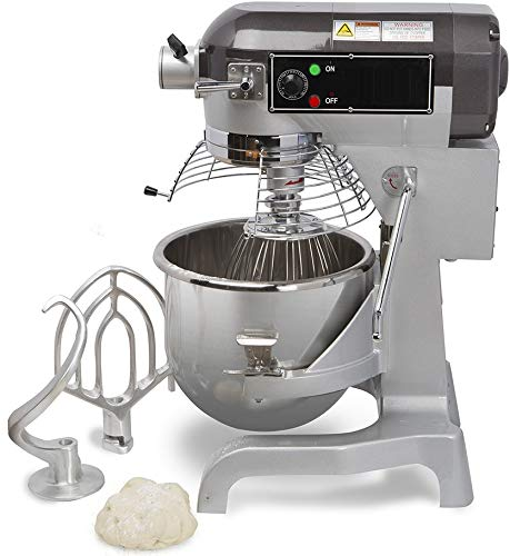 Chef's Exclusive CE744 Commercial All Purpose Gear Driven Planetary Stand Mixer with Timer 1.5 HP Motor and Safety Interlock Includes Dough Hook Flat Beater and Wire Whip, 20 Quart, Metallic