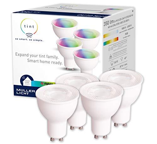 tint von Müller-Licht 4er-Set Smarte LED Lampen GU10, Reflektor, white-color (Weißtöne und farbiges Licht), dimmbar, jeweils 6W ersetzt >50W Lampe, Zigbee, funktionieren mit Alexa