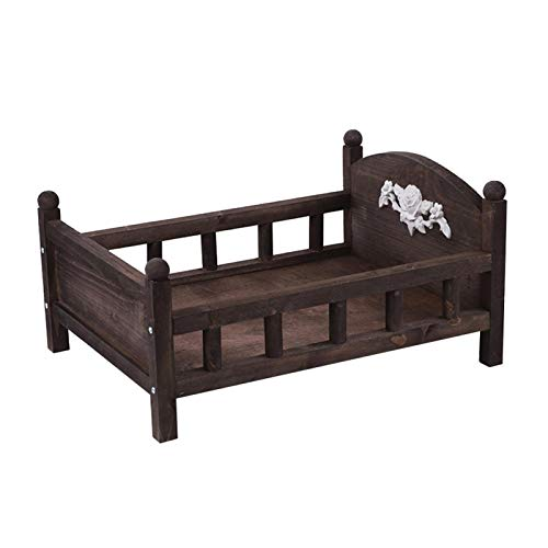 Urstory1 cama de madera posando lindos accesorios para fotos estudio de la infancia fondo duradero fotografía bebé regalo recién nacido desmontable hermosa cuna (marrón)