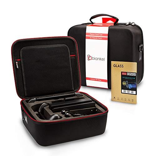 Biankel 2in1 Set Tasche für Nintendo Switch, Deluxe Tragetasche Case für Nintendo Switch, Schutzhülle, Schutzcase mit Platz für 21 Spielkarten, inklusive Panzerglas 9H für die Nintendo Switch