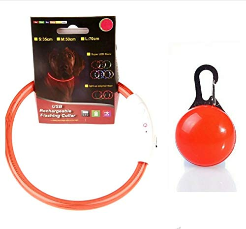 Collar de Seguridad LED Recargable Ultra Luminoso para su Mascota batería de Litio Mayor Visibilidad y Seguridad Talla única para Todos los Perros de Talla Media y Grande(Rojo) más Colgante LED