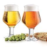 Final Touch Juego de 2 vasos de cerveza artesanales de 600 ml de vidrio en forma de V...