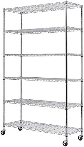 82''L x48''W x18''H 6 Shelf Wire Shelving Unit NSF Garage Storage Shelves Large Heavy Duty Metal Shelf Organizer Height Adjustable Commercial Grade Steel Rack 2100 LBS Capacity with Wheels Chrome